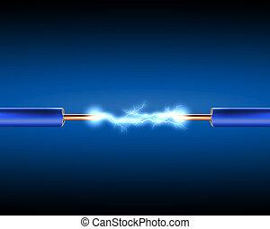 elektrische schnur, mit, elektrizität, sparkls