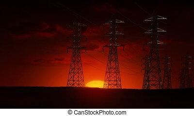 elektrische strom, linien, an, sonnenaufgang