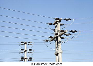 elektrischer draht, auf, der, stange, macht