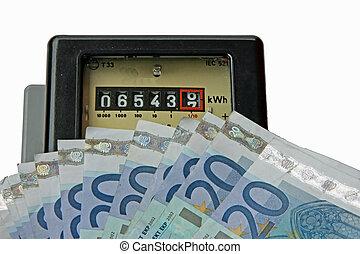 elektrischer ströme, meter, mit, viele, euro, zu, sein,...