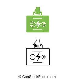 elektrisk, bil, eco, bil, stöd, verktyg, vänskapsmatch, concept., holdingen, fordon, tekniker, icon., hand, bag., eller
