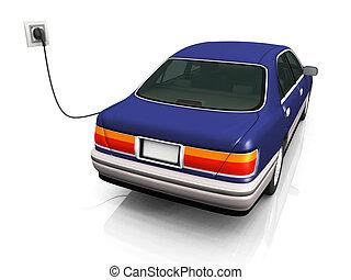elektrisk bil, laddning, it\'s, batteries.