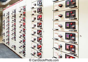 elektrisk, energi, fördelning, avdelningskontor, in, a,...