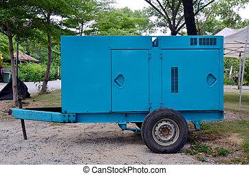 elektrisk, generator, släpvagn