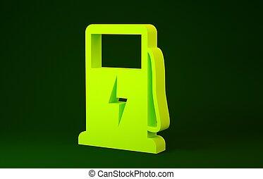 elektrisk, illustration, ikon, concept., minimalism, laddning, drivmedel, bakgrund., grön bil, gul, skylt., 3, isolerat, pump, render, station, eco