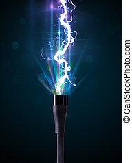 elektrisk, kabel, med, glödande, elektricitet, blixt