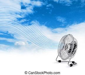 elektrisk, kylare, fan, blåsning, nytt lufta