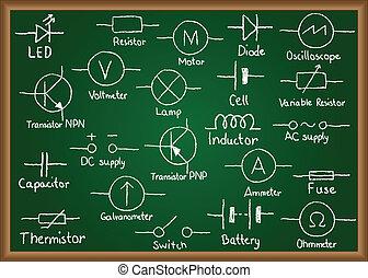 elektrisk ledningsnät, symboler, på, chalkboard