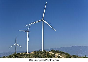 elektrisk makt, linda, generatorer, stationed, på, a, kulle