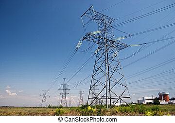 elektrisk, powerlines