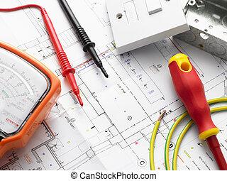 elektrisk utrustning, på, hus, planer