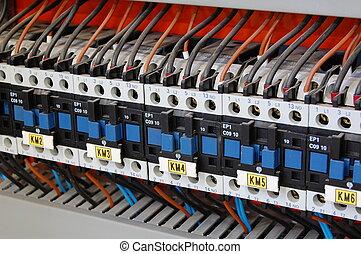 elektrisk, vidarebefordrar, säkerhetsbrytare, och, ballasts