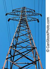 elektriskt stå hög, på, a, bakgrund, av, den, blåttsky