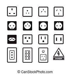 elektriskt uttag, och, plugga ikon
