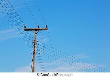 elektrizität, abstrakt, himmelsgewölbe, bewölkt , strömung, stange, hintergrund, linie