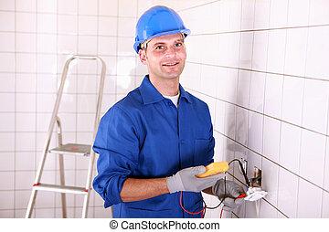 elektrizität, anprobe, handwerker