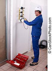 elektrizität, arbeiter, installieren
