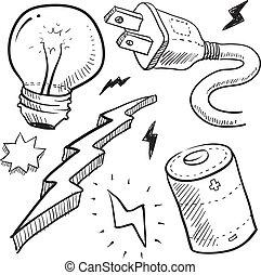 elektrizität, gegenstände, skizze