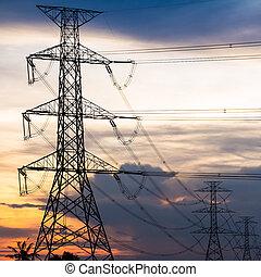 elektrizität, pfeiler, gegen, bunte, sonnenuntergang