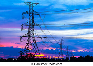 elektrizität, pfeiler, sonnenuntergang, gegen, bunte