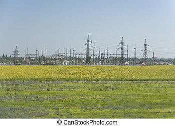elektrizität, station, auf