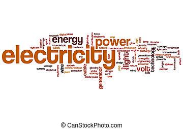 elektrizität, wort, wolke