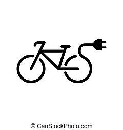 elektro, fahrrad, fahrrad, e-bike, ikone