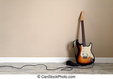 elektro, gitarre, mit, kabel