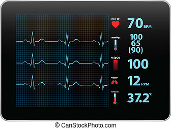 elektrocardiogram, monitor, apparaat