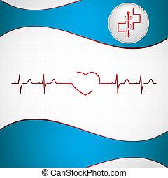 elektrokardiogramm, elvont, orvosi, háttér, kardiológia