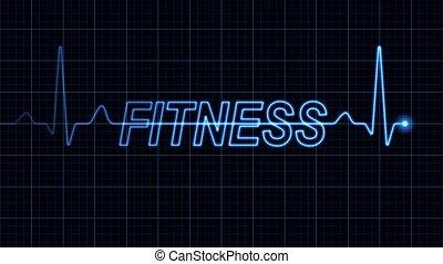 elektrokardiogramm, mit, fitness, wort