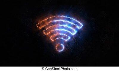 elektromagnetisch, anschluss, wifi, 25., signal.