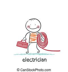 elektromonteur, vasthouden, kabel, en, toolbox