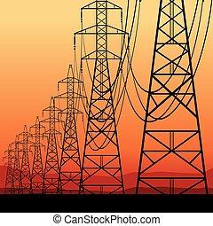 elektromos, megvonalaz, erő