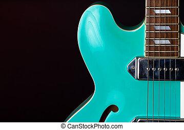 elektromos, türkiz, gitár, elszigetelt, fekete, 6, húr