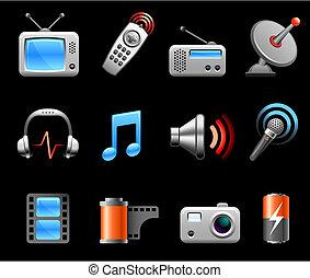 elektronica, en, media, pictogram, verzameling