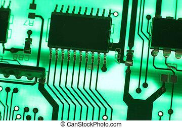 elektronica, technologie, achtergrond, in, groene