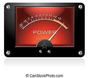 elektronický, analogový, vu, znamení, měřič