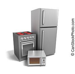 elektronik, över, vit, kök