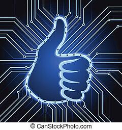 elektronik, mögen, zeichen