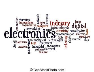 elektronik, ord, moln