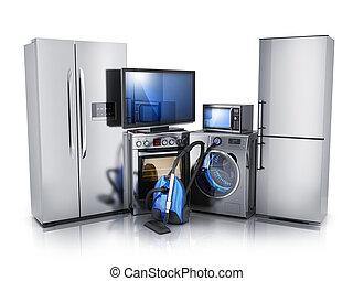 elektronika, nowoczesny, konsument, białe tło