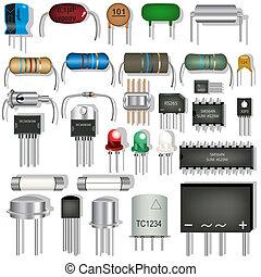 elektronikus, alkatrészek
