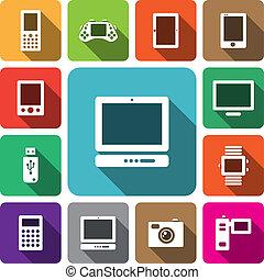 elektronikus, berendezés, ikon, állhatatos