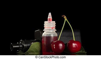 elektronikus, cigaretta, noha, cseresznye, folyékony, helyett, vaping, elszigetelt, képben látható, fekete