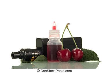 elektronikus, cigaretta, noha, cseresznye, folyékony, helyett, vaping, elszigetelt, white