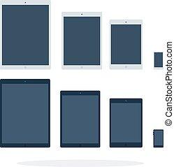 elektronikus, fekete, tabletta, furfangos, fehér, telefon