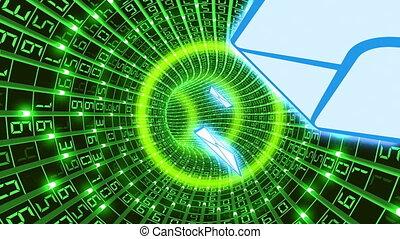 elektronikus posta, alatt, digitális, tunnel., hd., loop.