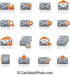 elektronikus posta, ikonok, //, grafit, sorozat