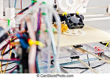 elektronisch, 3d, plastik, drucker, während, arbeit, in, schule, laboratorium